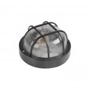 Светильник НПП 2602 60W чёрный-круг  IP54 с решеткой