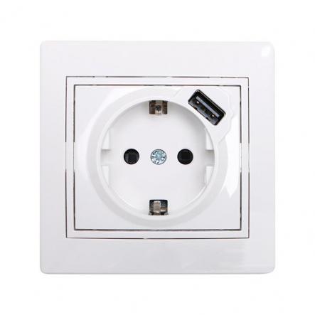 Розетка с заземлением Lezard Розетка + USB с заземлением Mira белый 701-0202-181 - 1
