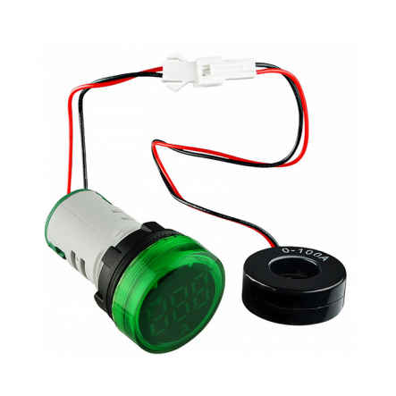 Амперметр цифровой ED16-22AD 0-100A (зелёный) врезной монтаж - 1