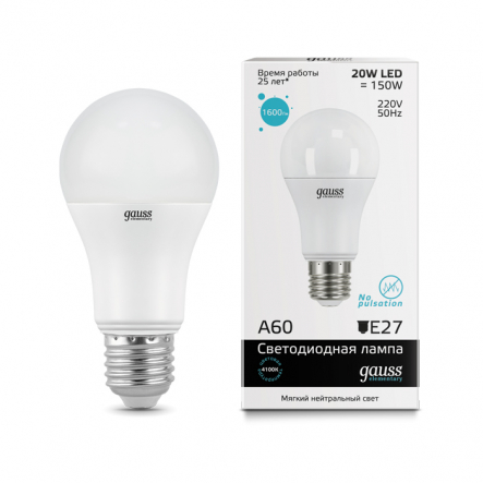 Лампа Gauss LED Elementary A60 20W E27 4100K - 1