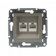 Розетка компьютерная 5eUTP двойная бронза Asfora, EPH4400169
