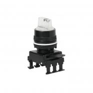 Переключатель поворотный 3-х позиционный HL66C8 с подсветкой с фиксацией 1-0-2, 30° бесцветный ETIMAT