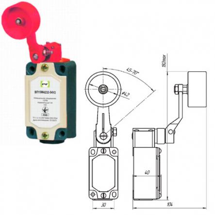 Выключатель концевой Промфактор ВП 15М 4232 рычаг поворотный с большим дюралевым роликом IP54 - 1