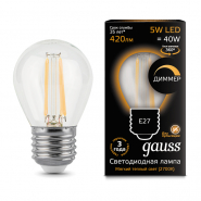 Лампа Gauss LED Filament   Шар dimmable E27 5W 420lm 2700K