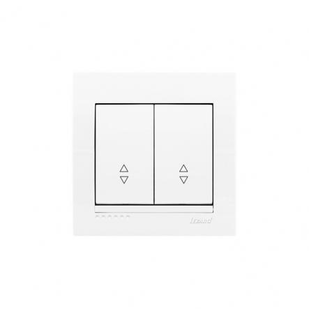 Выключатель двойной проходной с белой вставкой белый MIRA LEZARD - 1