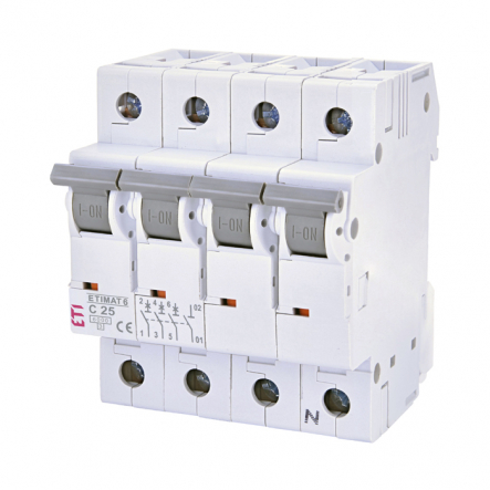 Автоматический выключатель ETI 6 3p+N C 25А (6 kA) 2146518 - 1