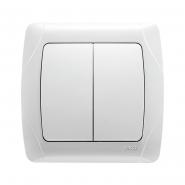 Выключатель  двухклавишный белый VIKO Серия CARMEN