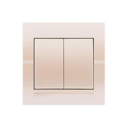 Выключатель 2-кл. жемчужно-белый металлик DERIY - 1