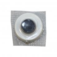 Кнопка звонка белая с черной клавишей (круг_круг) на блистере