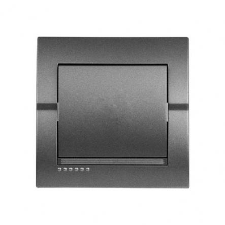 Выключатель одноклавишный темно серый металлик DERIY - 1