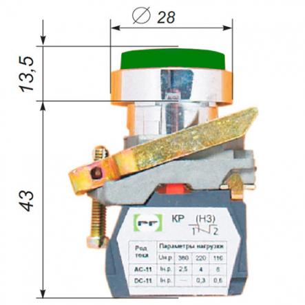 Выключатель кнопочный ВК-011НЦВ3 13 зеленый (толкатель выпуклый) Промфактор - 1