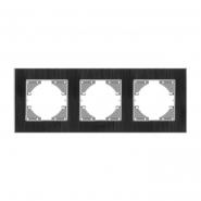 Рамка черный алюминий 3 поста горизонтальная (VF-BNFRA3H-B) VIDEX BINERA