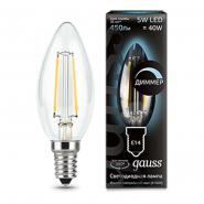 Лампа Gauss LED Filament  Свеча dimmable E14 5W 450lm 4100К