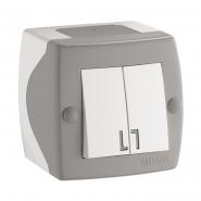 Выключатель 2кл накладной Mono Electric, OCTANS IP 20 серый