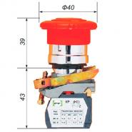 Выключатель кнопочный ВК-011КГрК 4Р (грибок с фиксацией, возврат поворот) 4нз Промфактор