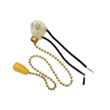 Выключатель на бра длинный шнурок золото-дерево - 1