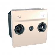 Розетка телевизионнаяТV+R конечная 2-х модульная слоновая кость Unika