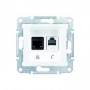 Розетка телефонная+компьютерная RJ11+RJ45 категория 5е неэкранированная белая