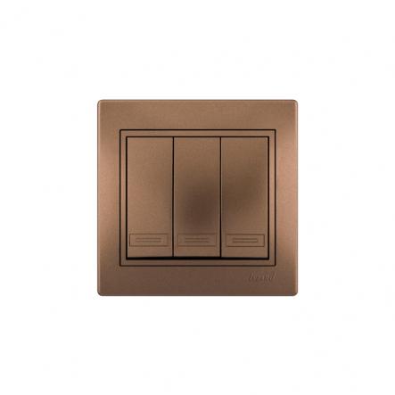 Выключатель 3-х клав. светло-коричневый перламутр с/вст. MIRA - 1