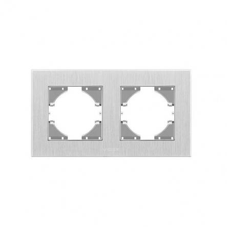 Рамка на 2 места горизонтальная VIDEX Binera Серебристый алюминий (VF-BNFRA2H-SL) - 1