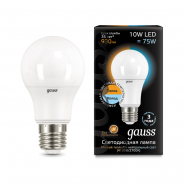 Лампа Gauss LED A60 10W E27 930lm 2700K/4100K CTC