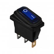Перемикач 1 клав. вологозах. з підсвічуванням KCD3-101WN BL/B  220V АСКО