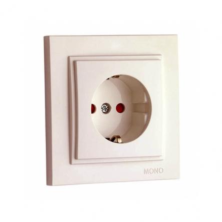 Розетка 1-я с заземлением , и защита для детей Mono Electric, DESPINA (крем) - 1