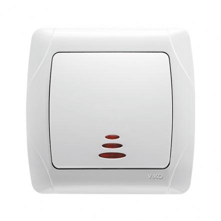 Выключатель одноклавишный с подсветкой белый VIKO Серия CARMEN - 1