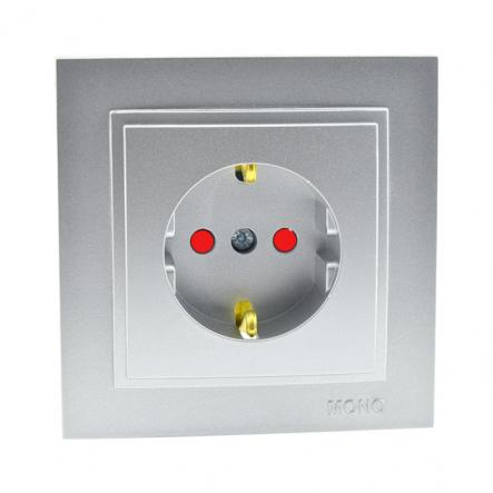 Розетка 1-я с заземлением , и защитой для детей Mono Electric, DESPINA (серебро) - 1