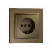 Розетка 1-я  с заземлением , Mono Electric, DESPINA (бронза)