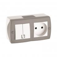 Выключатель 2кл+розетка без заземления накладной Mono Electric, OCTANS IP 20 серый
