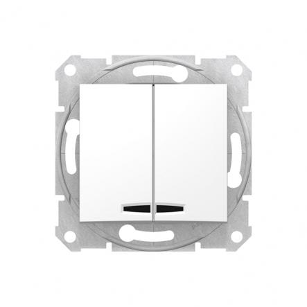 Выключатель двухклавишный с подсветкой белый - 1
