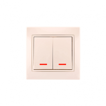 Выключатель двойной с подсветкой со вставкой крем MIRA LEZARD - 1