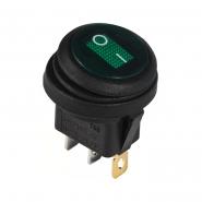 Перемикач 1 клав.круглий вологозах. з підсвічуванням KCD1-8-101WN GR/B 220V АСКО