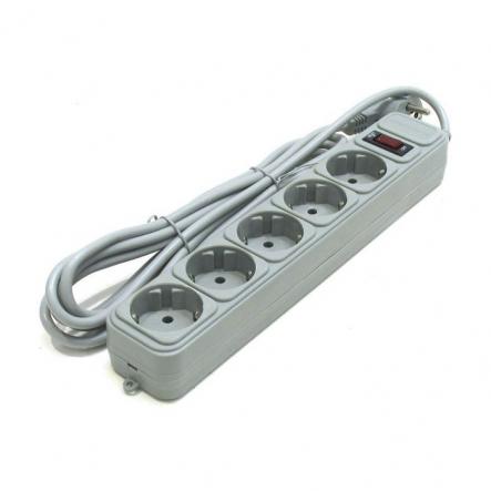 Сетевой фильтр 5гнезд 4,5м серый Gembird - 1