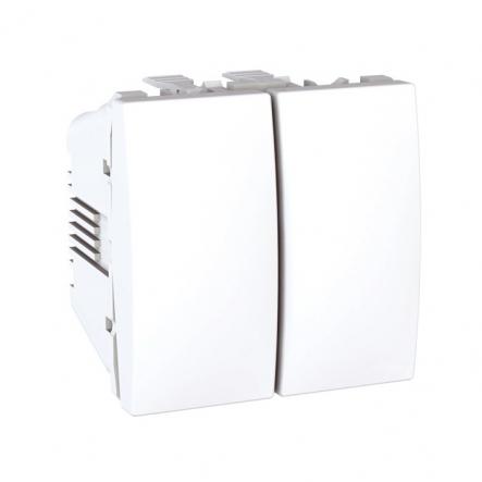 Выключатель двухклавишный белый Unika - 1