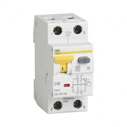 Дифференциальный автоматический выключатель IEK АВДТ-32 1+Nр 16А 30мА - 1