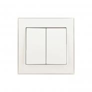 Выключатель двухклавишный жемчужно-белый перламутр Lezard серия RAIN