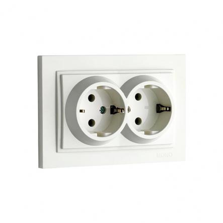Розетка 2-я с заземлением, Mono Electric, DESPINA (белый) - 1