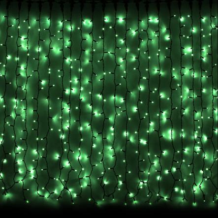 Гирлянда внешняя CURTAIN 2x3м 912LED зелен/черн IP44 - 1