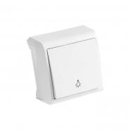 Выключатель одноклавишный кнопочный  белый VIKO Серия VERA