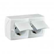 Розетка 2-я с заземлением с крышкой накладная Mono Electric, OCTANS IP 20 белая