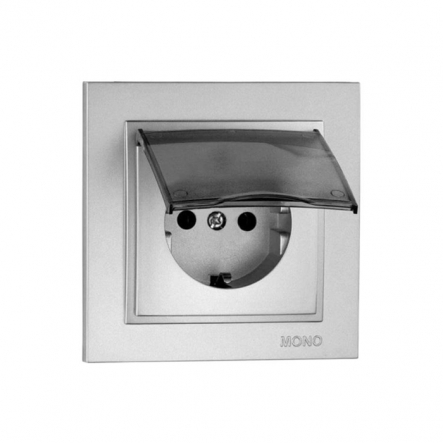 Розетка 1-я с заземлением ,с крышкой Mono Electric, DESPINA (серебро) - 1