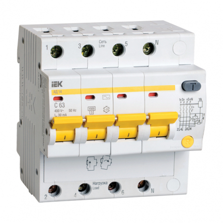 Дифференциальный автоматический выключатель IEK АД-14 4р 63А 30mA - 1