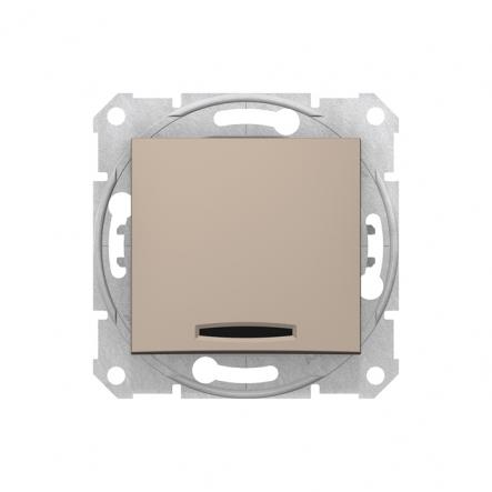 Выключатель одноклавишный c подсветкой титан - 1
