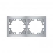 Рамка 2-я горизонтальная металл серый б/вставок MIRA