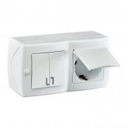 Выключатель 2кл+розетка с заземлением с крышкой накладной Mono Electric, OCTANS IP 20 белый