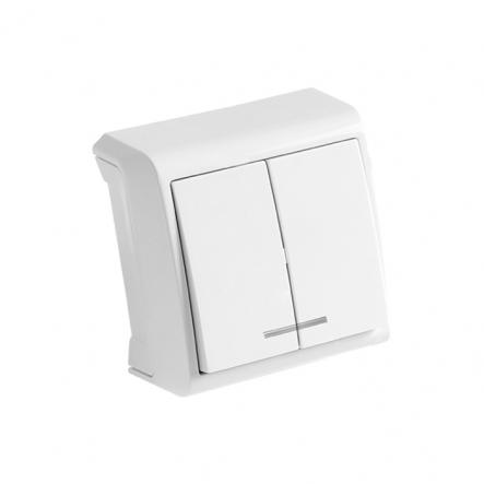 Выключатель двухклавишный с подсветкой белый VIKO Серия VERA - 1