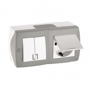 Выключатель 2кл+розетка с заземлением с крышкой накладной Mono Electric, OCTANS IP 20 серый