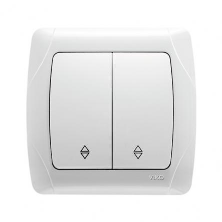 Выключатель двухклавишный проходной белый VIKO Серия CARMEN - 1